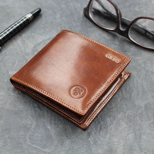 Personalised Luxury Billfold Wallet. 'The Vittore' - 3rd anniversary: leather