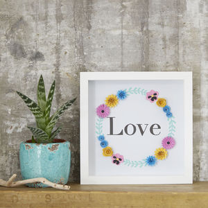 'Love' Framed Floral Art Picture - 1st anniversary: paper