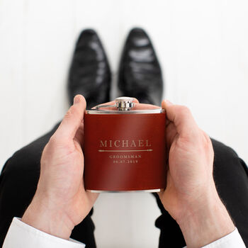 personalised leather hip flask for men - personalised wedding gifts for best man - engraved gifts for best man grooms man groomsman usher