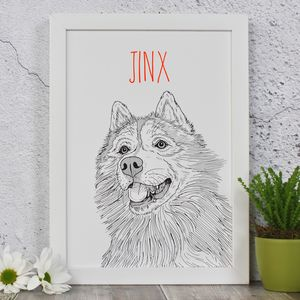 Husky Personalised Dog Portrait Print