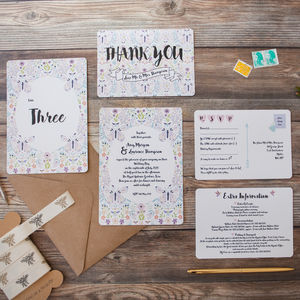 Butterfly And Bee Wedding Stationery - save the date cards