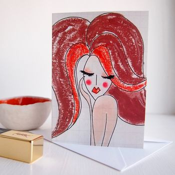 Fashion Illustration Girl Birthday Card