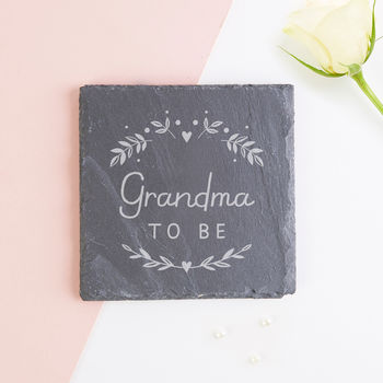 Grandma To Be Baby Announcement Gift Slate Coaster