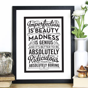 'Imperfection Is Beauty' Quote Print - typography
