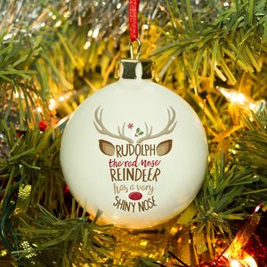 Bone China Rudolph Reindeer Personalised Bauble - tree decorations