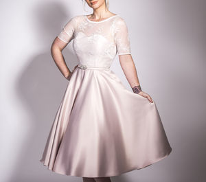 1950s Tea Length Satin And Lace Dress - wedding dresses