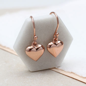 18ct Rose Gold Heart Hook Earrings