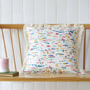 Paint Palette, Natural Fringed Cushion Cover