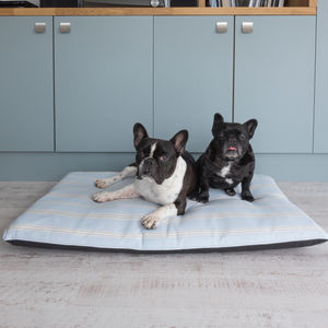 Eastnor Blue And Grey Stripe Mattress Dog Bed - beds & sleeping