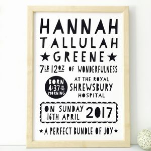 Personalised New Baby Print / 17 Colours To Choose - personalised gifts