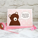 'Little Bear' Pink Personalised Birthday Card