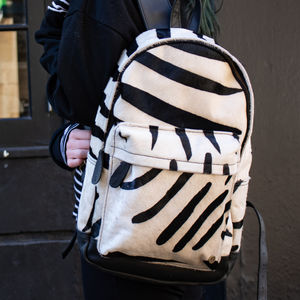 Classic Leather Backpack In Zebra Print Pony Hair