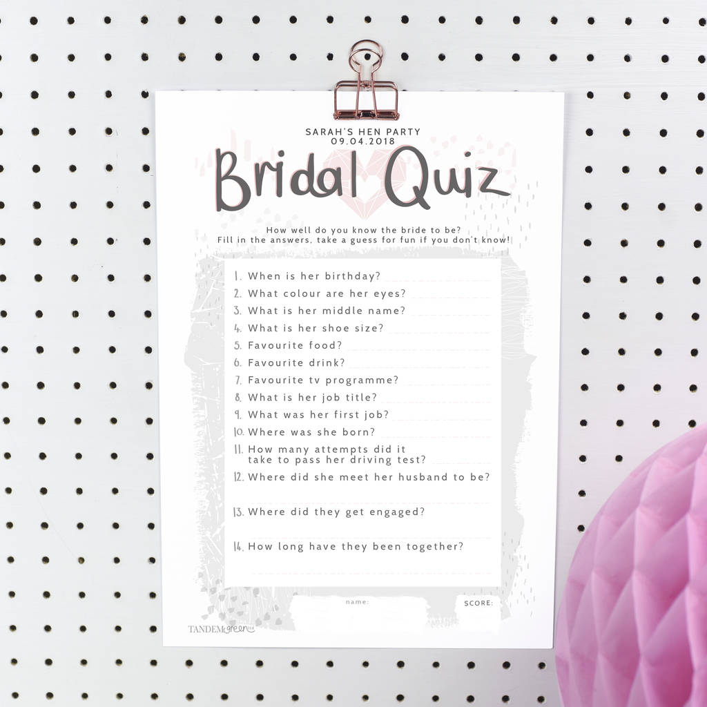 Personalised Bride To Be Quiz To Print By Tandem Green