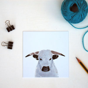 White Park Bull Greetings Card - whats new