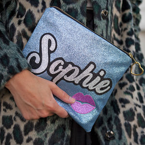 Personalised Glitter Grafitti Style Clutch Bag - gifts for teenage girls