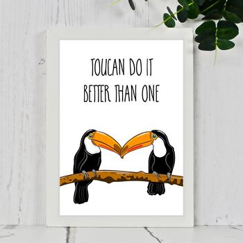 Toucan Love Bird Typography Prints