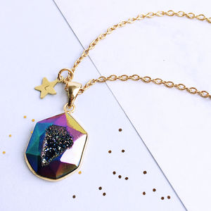 Personalised Titanium Quartz Druzy Necklace - statement jewellery