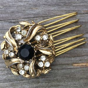 Ava Vintage Gold And Black Stone Comb Limited Edition - wedding jewellery