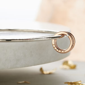 Personalised 9ct Gold And Silver Diamond Circle Bangle