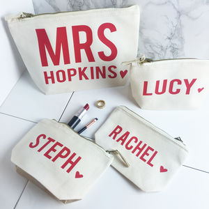Personalised Bride And Hen Party Make Up Bag Set