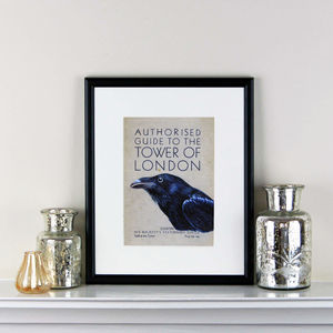 Raven And Tower Of London Guide Print - limited edition art