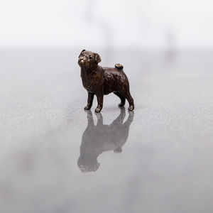 Miniature Bronze Pug Statue - sculptures