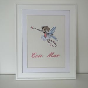 Personalised Embroidered Flying Fairy Picture