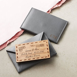 Personalised Leather Cardholder - 5th anniversary: wood
