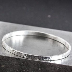 Personalised Silver Engraved Hammered Rectangle Bangle