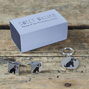 Daddy And Me Black Schnauzer Cufflinks And Dog Tag Set - pets sale