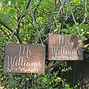 Personalised Mr And Mrs Wooden Wedding Signs - personalised