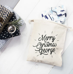 Personalised Name Christmas Eve Gift Bag - stockings & sacks