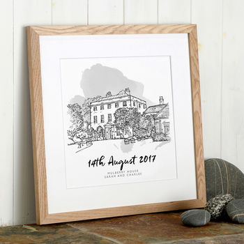 Wedding Venue Line Illustration