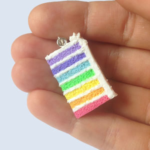 Handmade Rainbow Cake Pendant Necklace