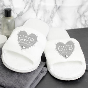 Personalised Monogram Velour Slippers - shoes