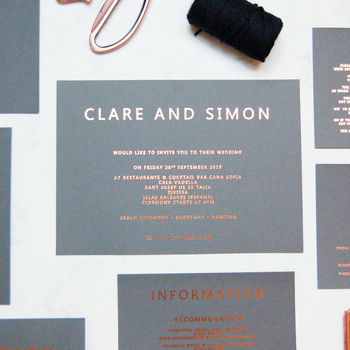 Rose Gold And Grey Copper Foil Wedding Invitation