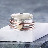 Sterling Silver And Rose Gold Heart Spinning Ring - anniversary gifts