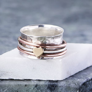 Sterling Silver And Rose Gold Heart Spinning Ring - gifts for her