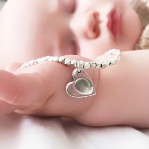 New Baby Fingerprint Heart Charm Bracelet