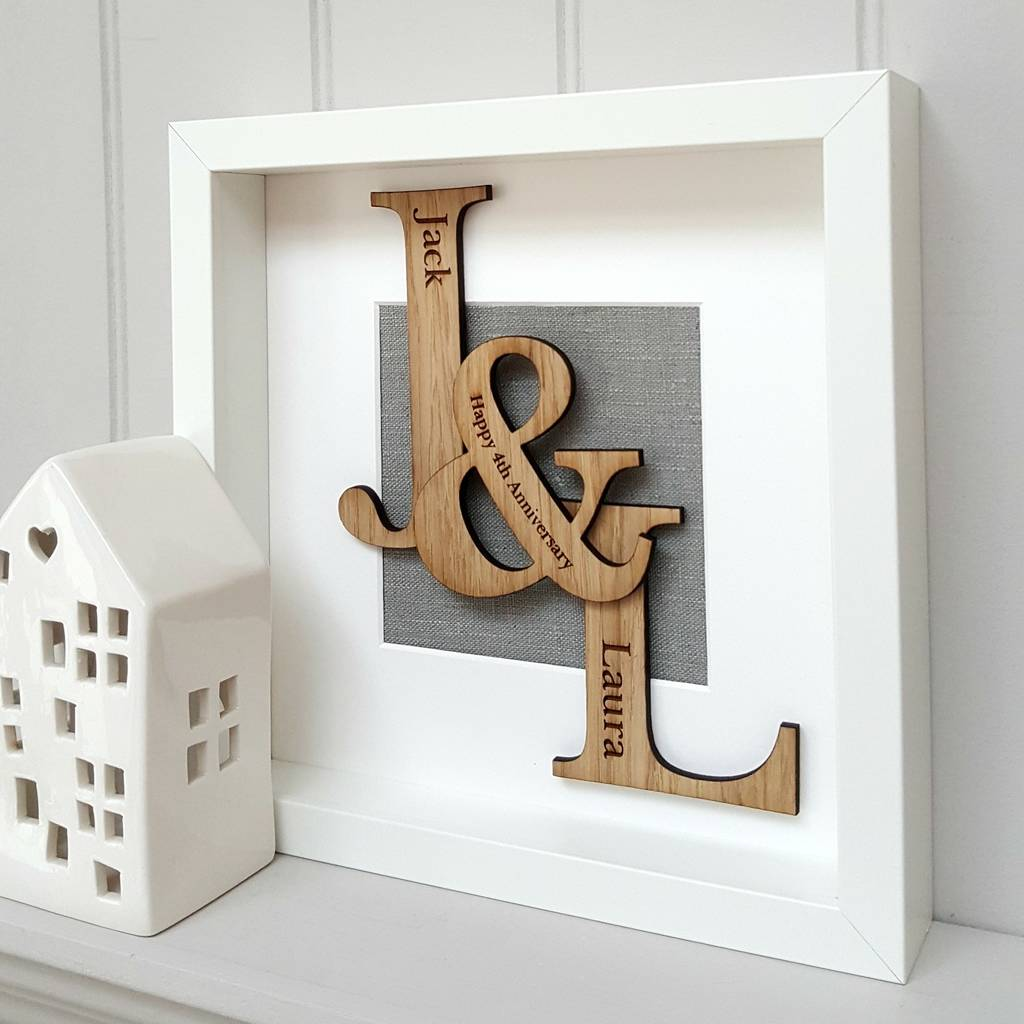 Linen Anniversary Oak Initials Artwork By Little Foundry
