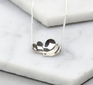 Handmade Sterling Silver Concave Hearts Necklace