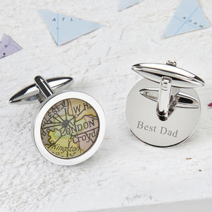 Personalised Circle Map Cufflinks - gifts for him
