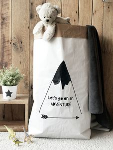 'Let's Go On An Adventure' Paper Storage Bag - storage & organisers