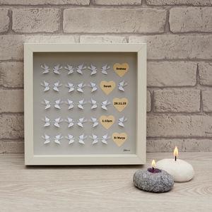 Personalised Framed 3D Handmade Flying Dove Wedding Art - whatsnew