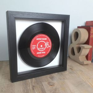 Fathers Day Real Vinyl Record Song Framed