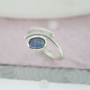 Opal Ring, Silver And Opal Ring, October Birthstone - women's jewellery