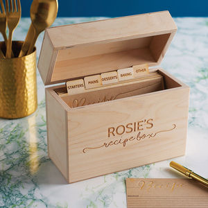 Personalised Wooden Recipe Box - gifts for her