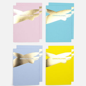 'Congratulations' Brush Stroke Cards Pack Of Eight - congratulations cards