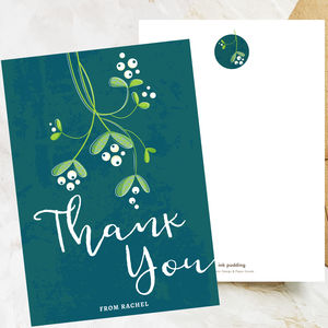 Personalised Thank You Postcards With Mistletoe
