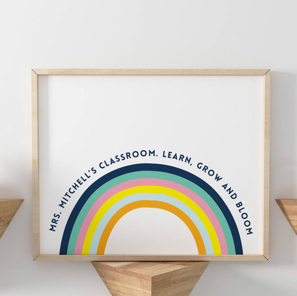 personalised thank you teacher classroom rainbow print
